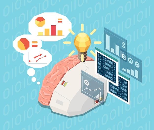 Izometryczna kompozycja sztucznej inteligencji z obrazem półelektronicznego ludzkiego mózgu myślącego o wykresach i danych