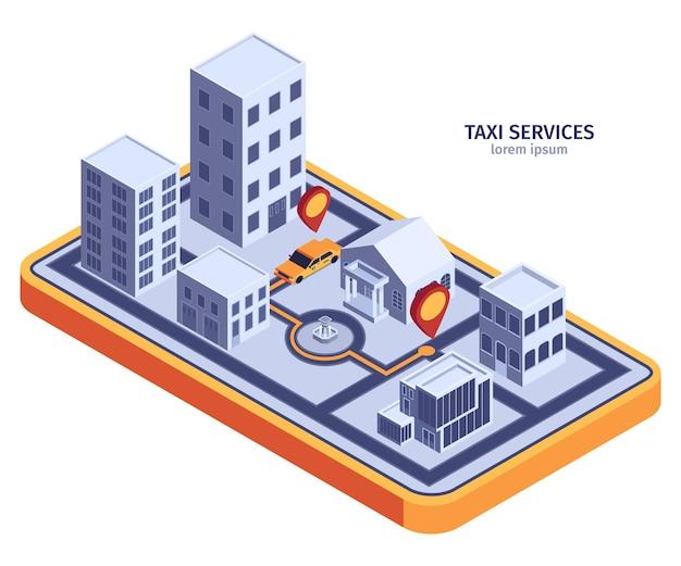 Izometryczna kompozycja taksówek z płaską powierzchnią w kształcie smartfona i nowoczesnymi budynkami z żółtą taksówką i trasą