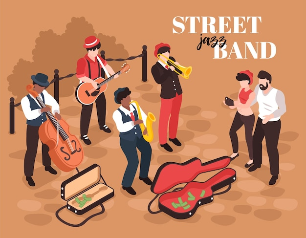 Izometryczna kompozycja ulicznego muzyka z ludzkimi postaciami członków zespołu jazzowego ze słuchaczami i tekstem