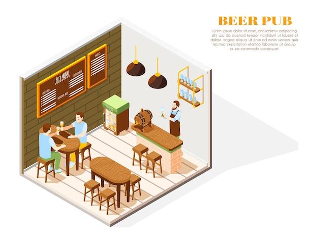 Izometryczna kompozycja wnętrza pubu piwnego z trzymaniem szklanej tablicy menu barmana chłodniejszej dębowej beczki klientów