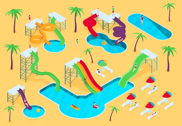 Izometryczna kompozycja wodnego parku wodnego z widokiem na plażę z palmami