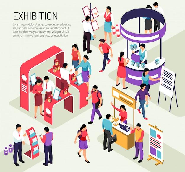 Izometryczna kompozycja wystawy expo z edytowalnym opisem tekstowym i kolorowymi stoiskami wystawienniczymi wypełnionymi ludźmi