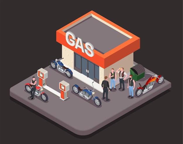 Izometryczna kompozycja z kolorowymi motocyklami i grupą motocyklistów płci męskiej stojącej w pobliżu stacji benzynowej