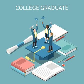 Izometryczna kompozycja z wesołymi książkami dla absolwentów szkół wyższych i niebieską czapką