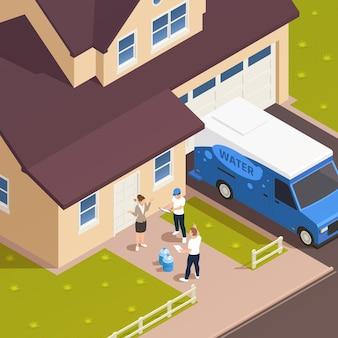 Izometryczna kompozycja zewnętrzna z dostarczaniem wody z wejściem do domu z postaciami pracowników i gospodarzy