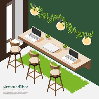 Izometryczna kompozycja zielonego biura z zielonymi ścianami, drewnianym stołem i krzesłami z trawy