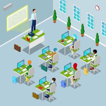 Izometryczna komputerowa sala lekcyjna z nauczycielem i uczniami na wykładach.