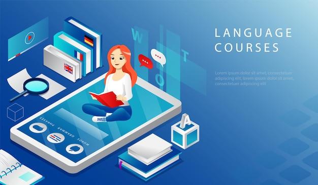 Izometryczna koncepcja 3d kursów językowych online edukacji zdalnej. strona docelowa witryny. młoda wesoła dziewczyna siedzi na dużym smartfonie i czytanie podręcznika. ilustracja wektorowa kreskówki strony sieci web.