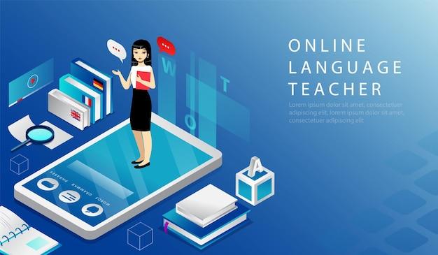 Izometryczna koncepcja 3d nauczyciela języka online, kurs zdalnej edukacji. strona docelowa witryny. kobieta stoi na dużym smartfonie trzymając podręcznik w rękach. ilustracja wektorowa kreskówki strony sieci web.