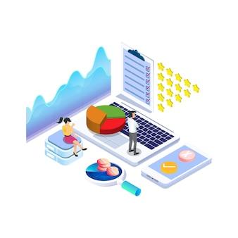 Izometryczna koncepcja ankiety online z gwiazdką ratingową dla usług produktów aplikacji