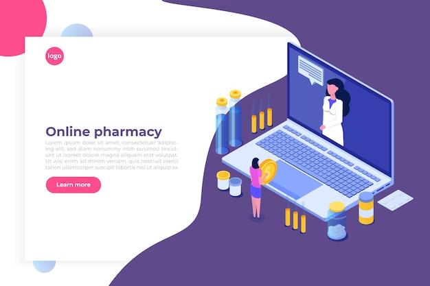 Izometryczna koncepcja apteki internetowej z butelką tabletek leku.