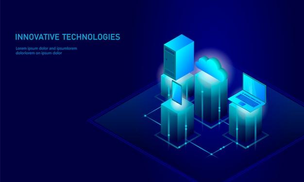 Izometryczna koncepcja bezpieczeństwa przechowywania w chmurze, przyszłość technologii smartphone, infografika 3d