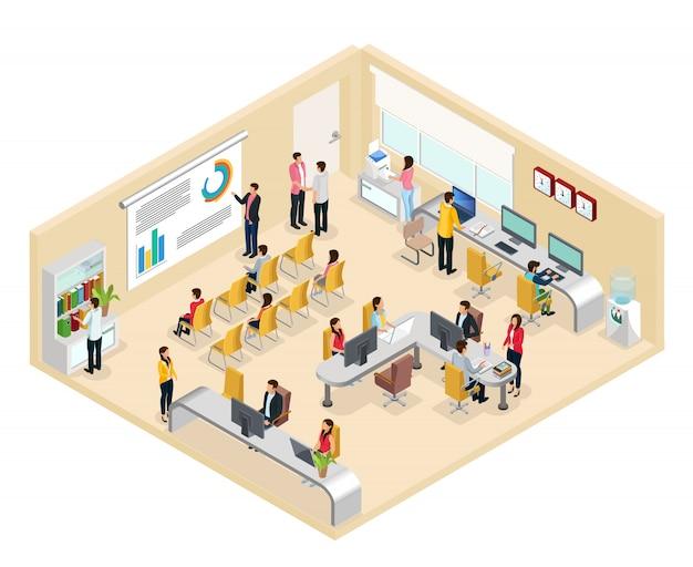 Izometryczna koncepcja biura coworkingowego z ludźmi pracującymi przy stołach różnych biur i prowadzących konferencję biznesową na białym tle