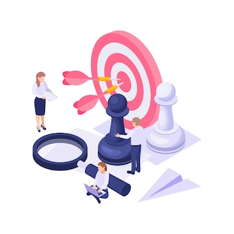 Izometryczna koncepcja biznesowa z kolorowymi docelowymi szachami lupa ilustracjami postaci roboczych