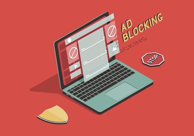 Izometryczna koncepcja blokowania reklam z ilustracją laptopa