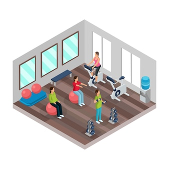 Izometryczna koncepcja ciąży i fitness z kobietami w ciąży wykonującymi różne ćwiczenia sportowe w siłowni na białym tle