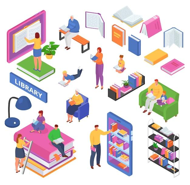 Izometryczna koncepcja czytania książek, czytanie książek w bibliotece, klasie, zestaw ilustracji edukacyjnych. czytelnicy na uczelni, studenci, podręczniki otwarte i zamknięte, regał.