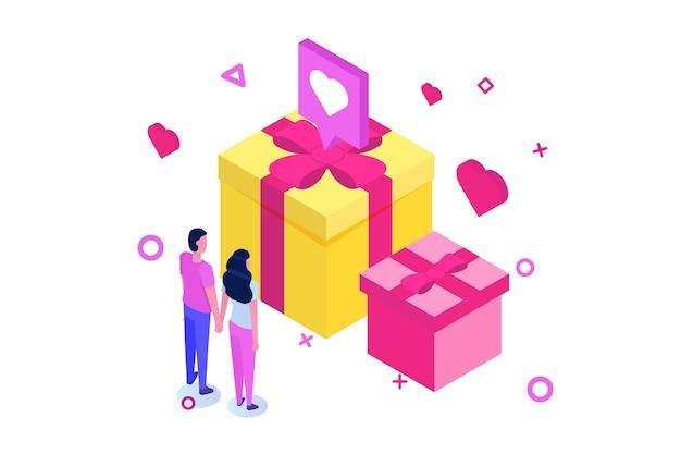 Izometryczna koncepcja dnia świętego valintane z dużym pudełkiem prezentowym i różowymi sercami