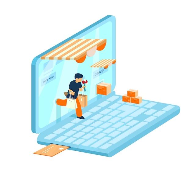 Izometryczna koncepcja e-commerce. koncepcja zakupów online. mężczyzna z zakupami wychodzi z laptopa.