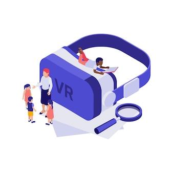 Izometryczna koncepcja edukacji 3d z okularami wirtualnej rzeczywistości i ilustracją uczniów