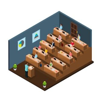 Izometryczna koncepcja edukacji uniwersyteckiej z profesorem prowadzącym wykład dla studentów w audytorium na białym tle