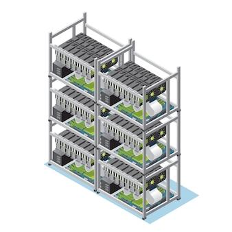 Izometryczna koncepcja farmy wydobywczej kryptowaluty z wieloma izolowanymi płytami głównymi i kartami wideo