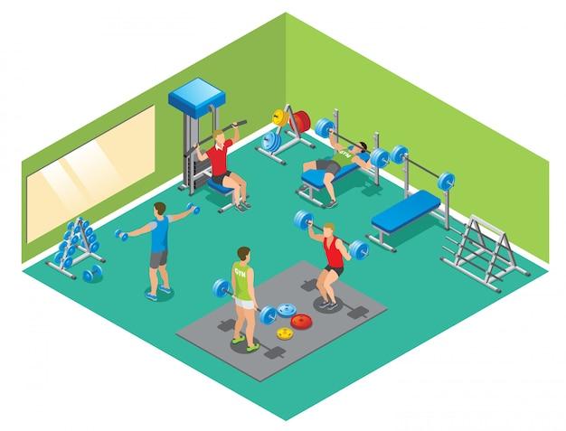 Izometryczna koncepcja fitness z silnymi ludźmi podnoszącymi hantle i sztangi w siłowni na białym tle