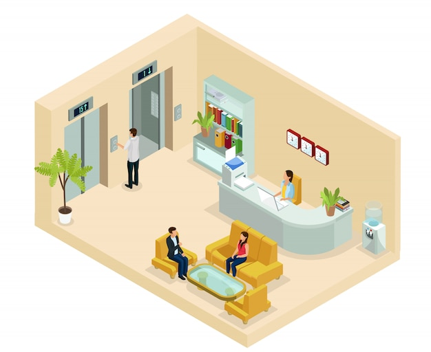 Izometryczna koncepcja hali biurowej z sekretarką siedzącą na sofie zegary regałowe windy chłodnicy wody na białym tle