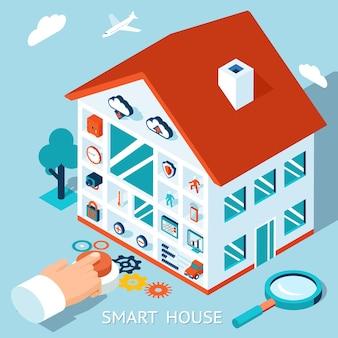 Izometryczna koncepcja inteligentnego domu. sterowanie domem poprzez naciśnięcie przycisku.