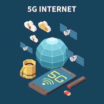Izometryczna koncepcja internetu 5g z kartą flash usb 3d satelitów i ilustracją smartfona