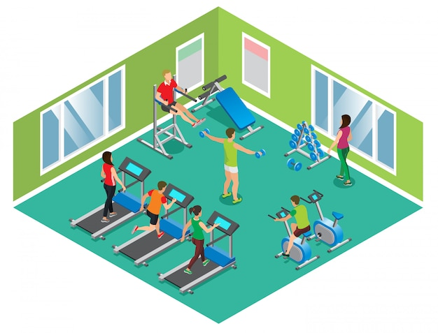 Izometryczna koncepcja klubu fitness z wysportowanymi mężczyznami i kobietami ćwiczącymi na różnych trenerach na białym tle