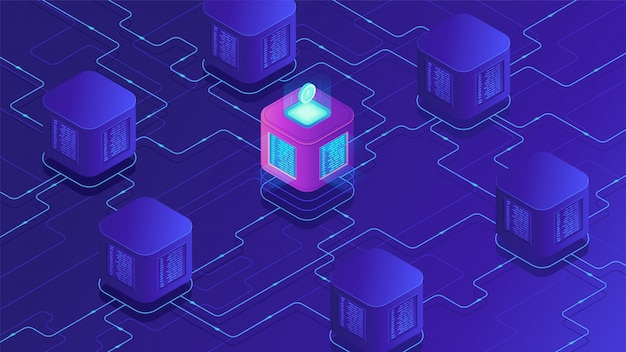 Izometryczna koncepcja kryptowaluty blockchain i transferu danych.