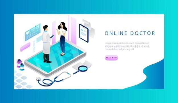 Izometryczna koncepcja lekarza online, opieki zdrowotnej. szablon transparent
