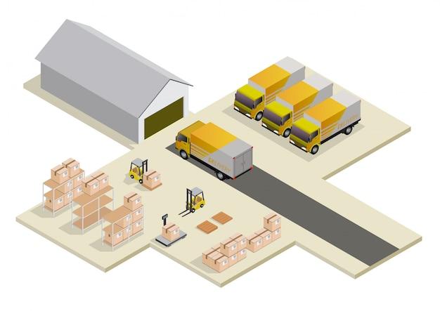 Izometryczna koncepcja logistyki i dostawy.