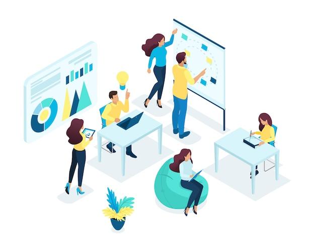 Izometryczna koncepcja młodego zespołu, praca zespołowa, opracowywanie pomysłów biznesowych, burza mózgów, start-up. pojęcie sieci