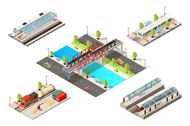Izometryczna koncepcja nowoczesnych pociągów z pasażerskimi towarowymi pojazdami kolejowymi metro i most kolejowy na białym tle