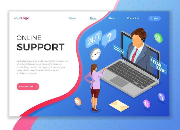 Izometryczna koncepcja obsługi klienta online. mobilne centrum telefoniczne z konsultantem, zestaw słuchawkowy, laptop, ikony czatu. szablon strony docelowej.