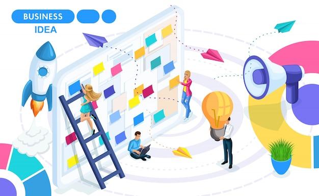 Izometryczna koncepcja opracowania, stworzenia i wdrożenia pomysłu na biznes, startup. ludzie w ruchu izometryczny. koncepcje banerów internetowych i materiałów drukowanych