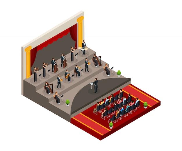 Izometryczna koncepcja orkiestry symfonicznej z dyrygentem i muzykami grającymi muzykę klasyczną przed izolowaną publicznością
