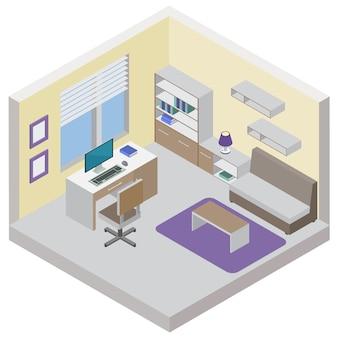 Izometryczna koncepcja pokoju pracy z półkami na książki i strefą dla gości