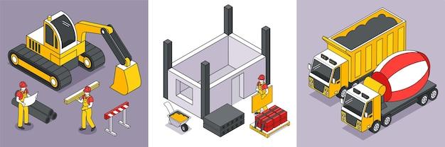 Izometryczna koncepcja projektowania 3d z konstruktorami konstrukcji i ilustracja na białym tle maszyn budowlanych
