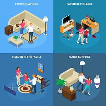 Izometryczna koncepcja projektowania problemów rodzinnych z kłótniami, przemocą rodzicielską, nieporozumieniem, konfliktem, izolacją