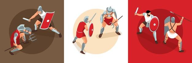 Izometryczna koncepcja projektu gladiatorów starożytnego rzymu z kwadratowymi kompozycjami bitew pojedynkowych z ilustracją postaci walczących wojowników