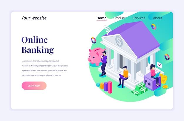 Izometryczna koncepcja projektu strony docelowej bankowości internetowej ze znakami, inwestycje finansowe i biznesowe online