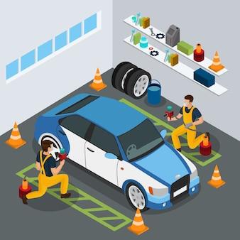 Izometryczna koncepcja serwisu samochodowego z profesjonalnymi pracownikami malującymi samochód w mundurze z izolowanymi pistoletami natryskowymi