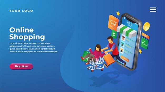 Izometryczna koncepcja sklepu internetowego dla strony docelowej witryny i aplikacji mobilnych