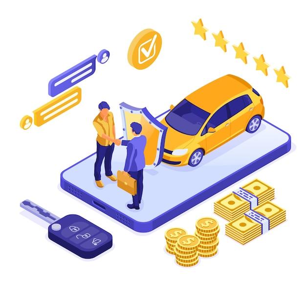 Izometryczna koncepcja sprzedaży lub wypożyczenia samochodu online ze smartfonem i dealerem samochodów