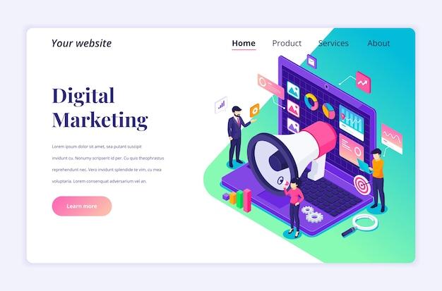 Izometryczna koncepcja strony docelowej marketingu cyfrowego, ludzie pracują z danymi i wykresami