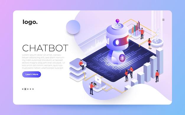 Izometryczna koncepcja technologii bota czatu. sztuczna inteligencja czatuje wiadomość przez uczenie maszynowe. zilustrować.