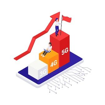 Izometryczna koncepcja technologii internetowej o wysokiej prędkości 5g z kolorowymi elementami 3d ilustracji wektorowych